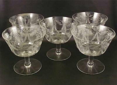 5 Fostoria Glass Victory Etched Ice Cream Bowls  Floral Swags  (!@)