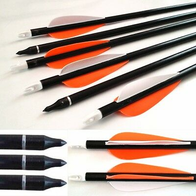 Archery arrows ORANGE Fibreglass hunting broadhead field tips screw on/off