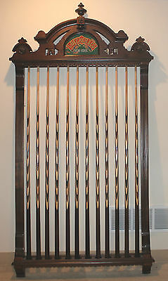 Antique Billiard Cue Rack Mfg. by L. Decker of New York w/ 12 Matching Pool Cues