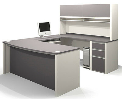 Bestar Connexion U Shape Office Desk w/ File Cabinet in Sandstone & Slate