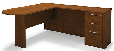 Bestar Embassy Traditional L Shaped Office Desk in Tuscany Brown