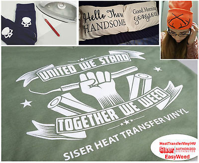 """Siser EasyWeed Iron On Heat Transfer Vinyl (15"""" x 12"""") *Over 50 Color Options*"""