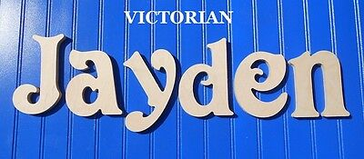 """Wood Wall Letters 6"""" Size Unpainted Wooden Name Nursery Room Decor Victorian"""