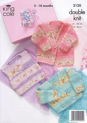 King Cole Baby Jackets DK Knitting Pattern in 3 Designs  Age 3 - 18 mths 3120