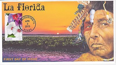 Jvc Cachets -' La Florida Issue Apalachee Native American First Day Cover Fdc #2