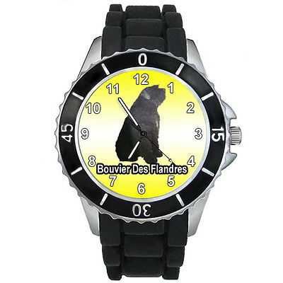 Bouvier des Flandres Dog Mens Ladies Black Jelly Silicone Band Wrist Watch S767E