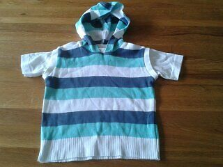 Baby Boys 6-9 Months - Blue, Aqua & White Striped Hooded T-Shirt/ Top - Next