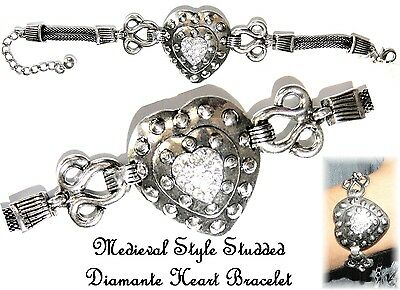 ~MEDIEVAL STUDDED DIAMANTE HEART BRACELET~Love~Silver Plated~Multi Size
