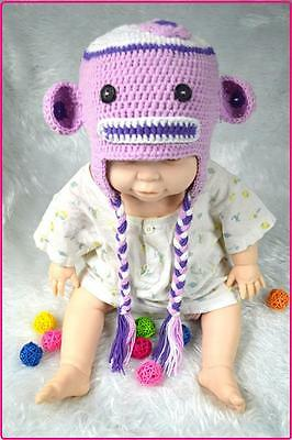 Baby Boy / Girl Hat Toddler Purple Monkey Knit Crochet Hat Beanie Clothes Cap