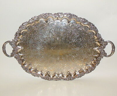 Vintage Silver Plate EPNS Grapes Pierce (Arrow) English Handles Footed Tray