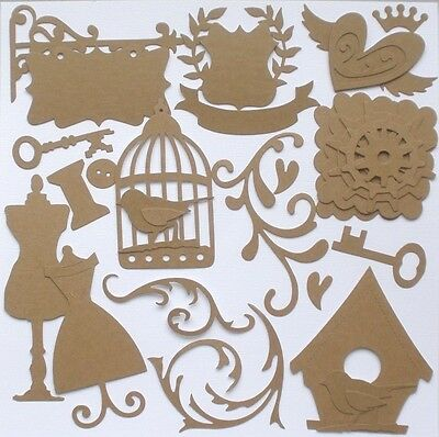 {25 Pieces}  ViNTAGE FiNDiNGS - Bare Antique Chipboard Kit ~ Alterable Die Cuts