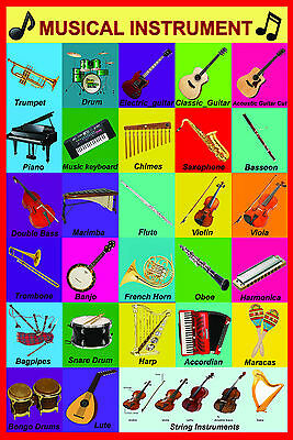 A2 - Gloss laminated MUSICAL MUSIC INSTRUMENTS educational class teaching poster
