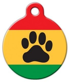 RASTA PAW - Custom Personalized Pet ID Tag for Dog and Cat Collars