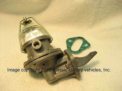 New Willys CJ2A CJ3A Ford GPW MB Fuel Pump with Glass Bowl. Jeep L134. F134.
