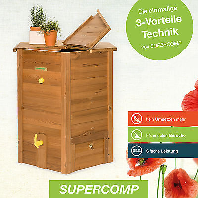 SUPERCOMP Thermo Holz Schnell Komposter 650 Liter PLUG & PLAY SPART ARBEIT!