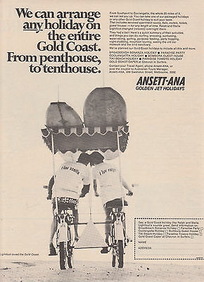 Vintage 1968 ANSETT ANA AIRLINES Advertisement PLANE GOLD COAST HOLIDAY