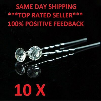 10 x CLEAR Bridal Hairpins Hair Pins crystal Wedding Bridesmaid Formal