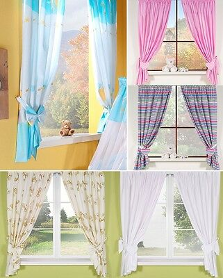 LUXURY BABY CURTAINS WITH HEARTS or BOWS TIE BACKS  8 UNIQUE DESIGNS