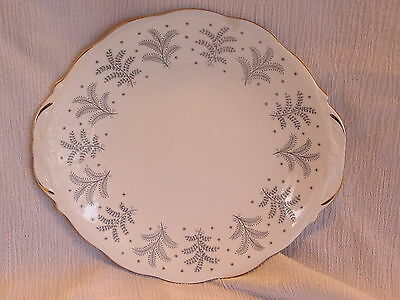 Queen Anne Fernlea Fine Bone China England 2 Handle Cake Serving Plate Dish NICE