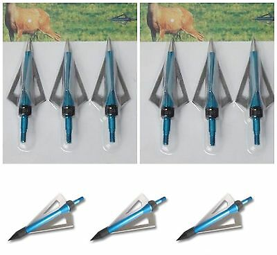 24 BLUE  Broadheads suits Crossbow bolts  Archery arrow Bolts 100 grn tip