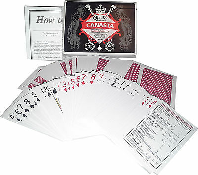 Canasta Playing Cards Queen's Slipper Double Deck Casino Quality w/Guide AU MADE