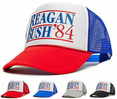 New Curved Bill 'Ronald Reagan George Bush 84' Campaign Hat Cap Baseball Vintage