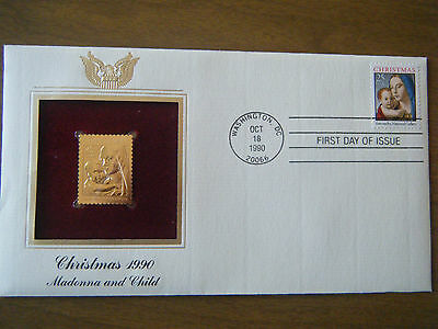 1990 Christmas Madonna and Child First Day Issue Stamp and FDC Gold Replica