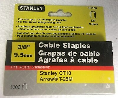 "Stanley 3/8"" CT106 Cable Staples - 1000 Count Box"