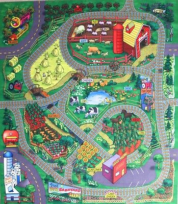 Farm Floor Play Mat Felt Game Children Kids Toy Animals Fruit Themed Mat Nursery