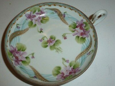 Vintage Nippon Small Dish with Handle, Lovely Florals and Gold Tone