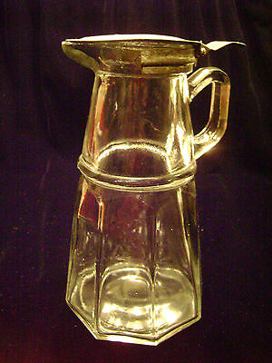 OLD GLASS SYRUP PITCHER/CONTAINER with METAL HINGED LID
