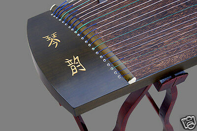 Exquisite Carved Teakwood Guzheng Instrument Chinese Zither Travel Size