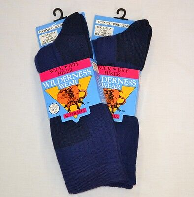 2 PAIR Wilderness Wear WICK DRY HIKER SOCKS rrp $55.90 + FREE POST 12-15