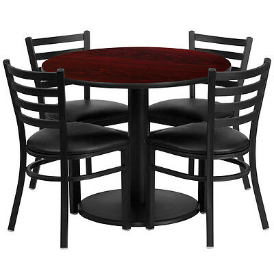Restaurant Table Chairs 36'' Mahogany Laminate with 4 Ladder Back Metal Chairs
