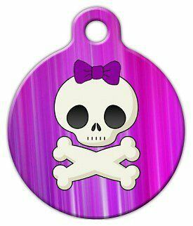GIRLIE SKULL - Custom Personalized Pet ID Tag for Dog and Cat Collars
