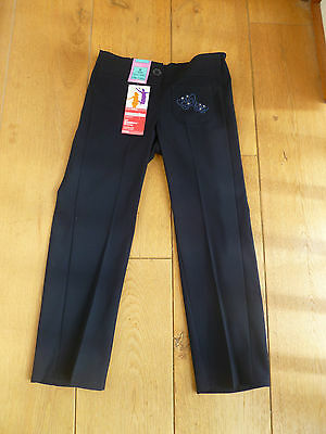 Marks & Spencers Navy Blue Sequin Embroidered Bootcut School Trousers Butterfly