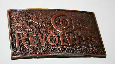 Vintage Colt Revolvers Gun Pistol Copper Look 1980s NOS New Belt Buckle