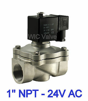 """Stainless Steel Zero Differential Water Electric Valve 1"""" Inch  24V AC Viton NC"""