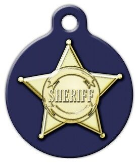 SHERIFF BADGE - Custom Personalized Pet ID Tag for Dog and Cat Collars