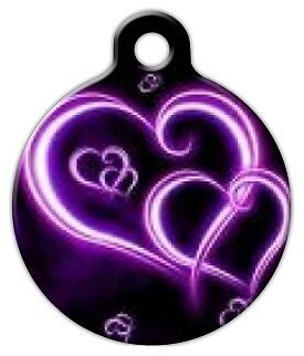 NEON PURPLE HEARTS - Custom Personalized Pet ID Tag for Dog and Cat Collars