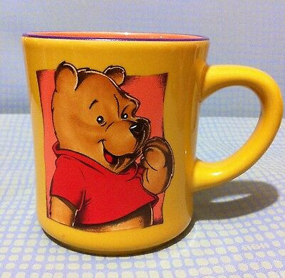 Smiling Winnie The Pooh Coffee Mug Disney Cup Orange Yellow Ceramic Happy Bear