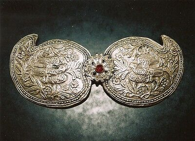 Antique Handmade Silver Belt Buckle With Semiprecious Stone From Greece (1900)