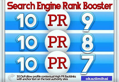 30 High PR Backlinks 10x PR9,10x PR8,10x PR7 Dofollow,Contextual,Manually build.