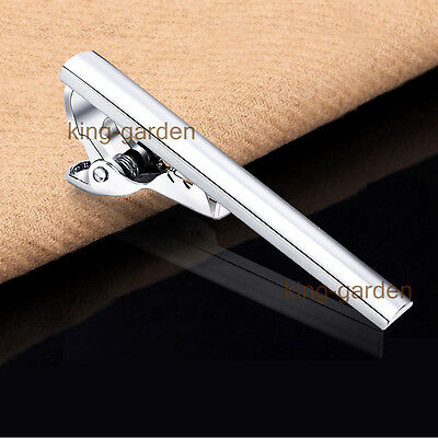 Mens Boys Silver Stainless Steel Simple Skinny Tie Clip Clasp Bars Pins 4CM