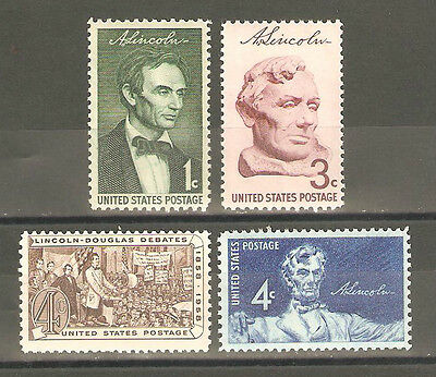 1113-1116 LINCOLN SESQUICENTENNIAL ISSUE COMPLETE SET OF 4 MINT/NH