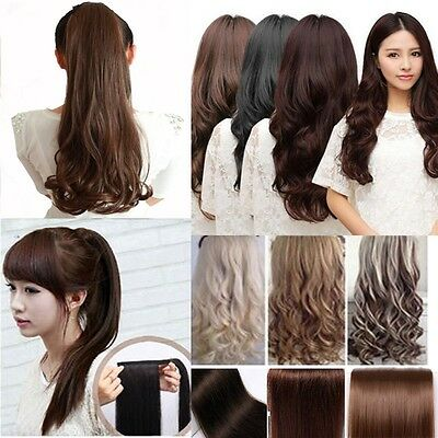 """24"""" WRAP-AROUND PONYTAIL Hair Extension Sexy Long Piece Clip In Synthetic human"""