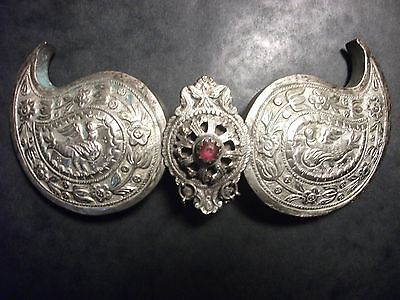 Antique Handmade Silver Belt Buckle With Semiprecious Stone From Macedonia(1900)