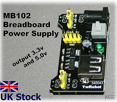 MB102 Breadboard Power Supply Module 3.3V 5V Arduino PIC Raspberry Pi - UK Stock