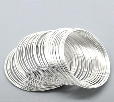 """100Loops Silver Plated Memory Beading Wire for Bracelet 50mm-55mm(2""""-2 1/8"""") Dia"""