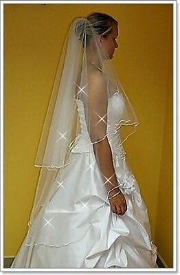 "2 Tier White/Ivory Wedding Prom Bridal Veil With Comb 51""-Swarovski Crystals"